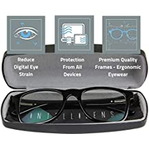 Intellilens® Unisex Blue Cut Navigator Spectacles With Anti-glare for Eye Protection (Zero Power, Black)