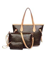 X&L 2016 Ms mano bolso bolsa tres piezas patrón del hueso , brown