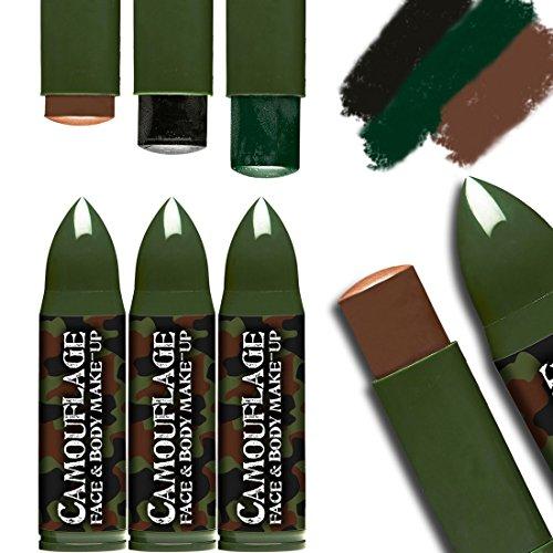 Make Up Militär Kostüm (Militär Tarnschminke Schminkstifte Army Tarnfarben Makeup Bundeswehr Soldaten Schminke Soldat Soldatin Kostüm Zubehör Camouflage Make-Up)