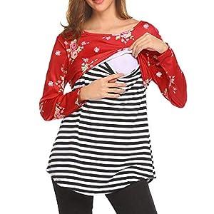 STRIR-Camiseta-De-Mujeres-Ropa-para-La-Lactancia-De-Maternidad-De-Raya-para-Mujeres-Las-Mujeres-Embarazadas-Maternidad-EnfermerA-Raya-Lactancia-Top-Camiseta-Blusa-XXL-Rojo-B