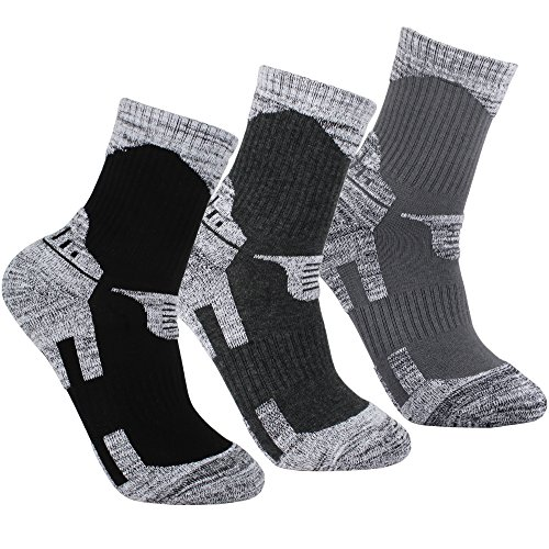 YUEDGE Herren 3 Paar Rutschfeste Wicking Outdoor MULTI Performance Wander-Socken(Sortiment Dunkelgrau/Schwarz/Hellgrau) (Wander-socken)