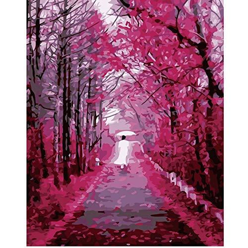 Vanzelu Wohnzimmer-Restaurantblumenpaar-Landschaftsdekoration der Frameless DIY digitalen Malerei handgemaltes, die Blätter führt 40x50cm (Blätter Gewürz-farbige)