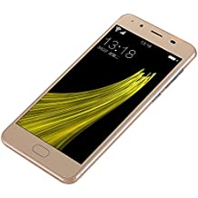 Smartphone moviles libres Teléfonos Móviles Libres de Dual SIM Dual Baratos, 5.0 Pantalla HD, Android 5.1, Quad-Core 2G+8G 4G/GSM, Cámara trasera 3.0MP con flash LED, cámara frontal 0.3MP - Oro