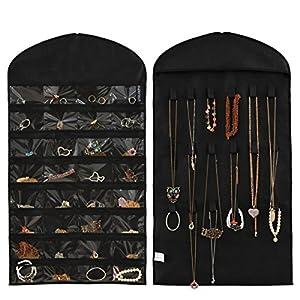 Schmuck Organizer,Supertech Schmuck hängend lagerung Organizer 32 Tasche 18 Haken Doppelseiten hängeaufbewahrung…