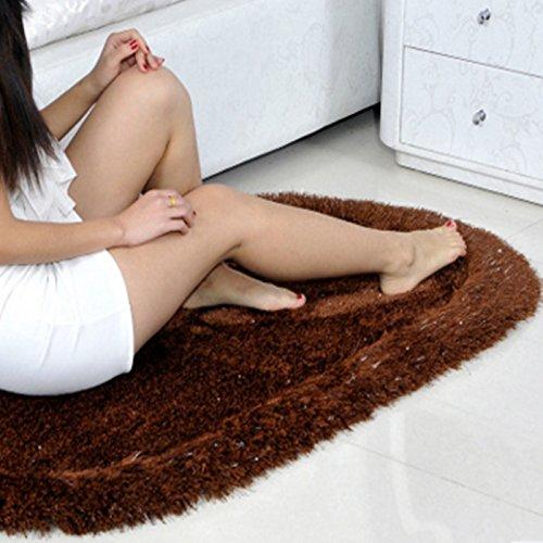 SL-Estirar la alfombra de seda, dormitorio manta, alfombra ovalada, sala de estar, mesa de café, dormitorio 3D,café,80*160 cm