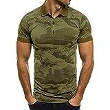 Camisas Hombre Manga Corta 2019 Moda SHOBDW Verano Cuello Mao Blusa Casual Estampado de Camuflaje Camisetas Hombre Basicas Slim Fit XXL(Verde,XL)