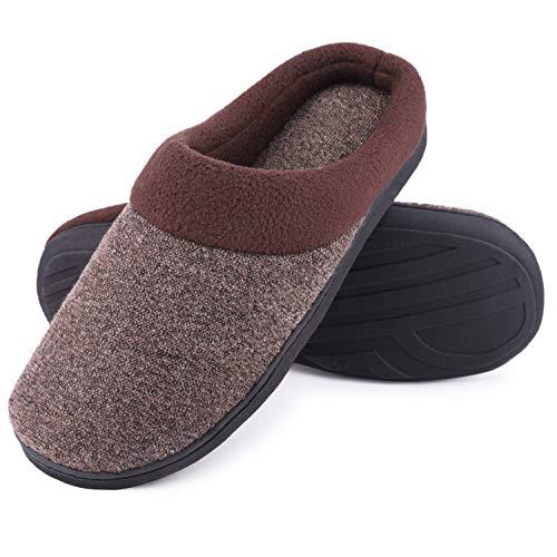 SoftPeds Herren Komfort Wollstoff Anti-Rutsch Hausschuhe, Atmungsaktive Memory Foam Pantoffeln (46/47 EU, Kamel)