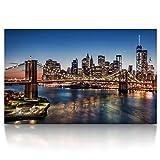 CanvasArts Brooklyn Bridge - New York Skyline - Leinwand Bild auf Keilrahmen (80x50 cm, einteilig, Farbe)