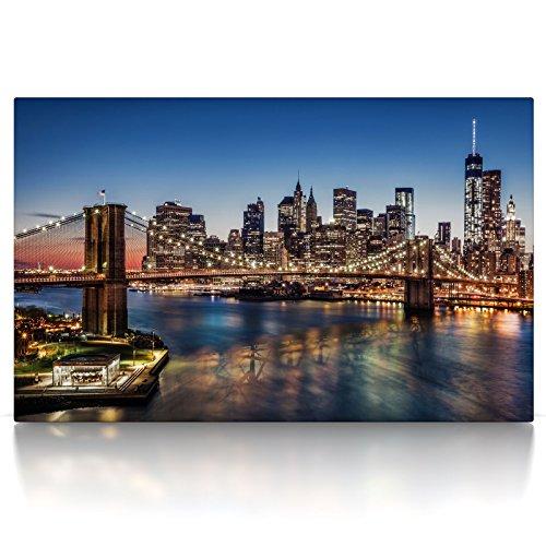 CanvasArts Brooklyn Bridge - New York Skyline - Leinwand Bild auf Keilrahmen (100x60 cm, einteilig, Farbe) - Brooklyn Bridge Skyline