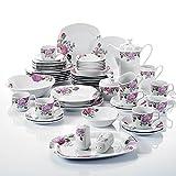 57-teilig Porzellan Tafelservice Kombiservice Set, Beinhaltet 8 Kaffeetassen mit 8 Untertassen, 8 Müslischalen, 8 Dessertteller, 8 Speiseteller, 8 Suppenteller, 1 Kaffeekanne, Milchkännchen, Zuckerdose, Salz- / Pfefferstreuer, Rechteckige Platte und Salatschale