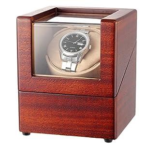 CHIYODA Automatischer Uhrenbeweger für 1 Automatikuhren, Watch Winder mit Super Leiser Motor und 12 Modus (Holz Finish)