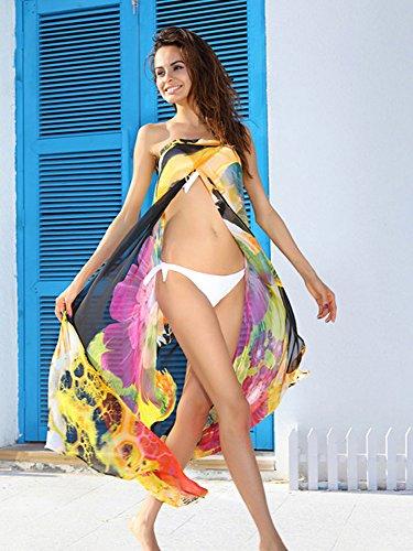 Fortuning's JDS Le donne coprono in tubo chiffon pieghevole in su il vestito da estate Beachwear di modo Yellow