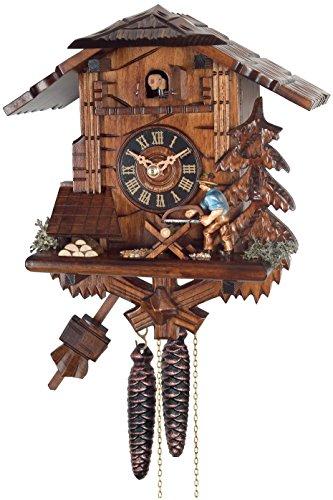 River City Clocks 34-10One Day Kuckucksuhr Cottage-Man Sägen Holz - Cottage, Cuckoo Clock