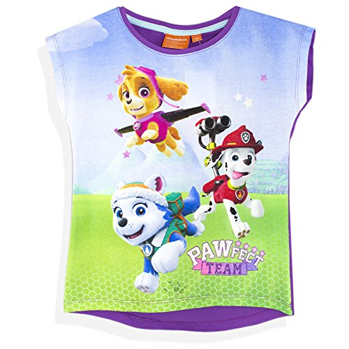 Official Paw Patrol Girls Short Sleeve T-Shirt Top 100% Cotton - Purple 5