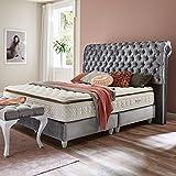 Boxspringbett Montana silber-grau Samt-Stoff Hotelbett Doppelbett Taschenfederkern-Matratze Topper Modern Luxusbett (160 x 200 cm)