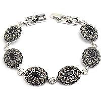 0d48c1c25b8f GMYANYSZ Estilo étnico Vintage Jewelry Silver Color Pulseras para Mujer  Negro Resina