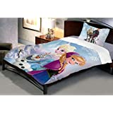 Uber Urban Disney Frozen 144 TC Cotton Single Bedsheet and Pillow Cover - Abstract, Multicolour