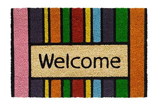 Kokos Fußmatte | Kokosmatte | Coco Fußmatte | Fussmatte | Antirutschmatte | Schmutzfangmatte | Kokosfasern | Rutschfest | Größe 40 x 60 cm | verschiedene Motiv Matten (Welcome Muly Color Stripes) -