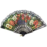 SLB Works Plastic Ribs Cut Out Floral Print Summer Folding Hand Fan