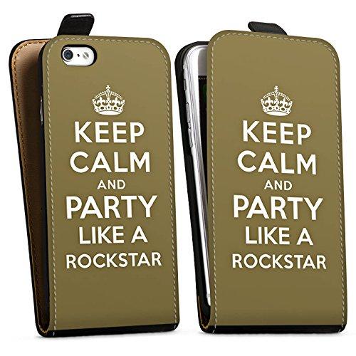 Apple iPhone X Silikon Hülle Case Schutzhülle Keep Calm Rockstar Musik Downflip Tasche schwarz