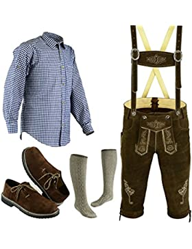Herren Trachten Lederhose Größe 46-62 Trachten Set 5 Teilig Bayerische Trachtenlederhose,Hemd,Schuhe,Socken Neu