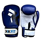 KIK FIT Blau Kinder Boxhandschuhe Junior Boxsack Leder-Handschuh, Kinder MMA Training 4oz