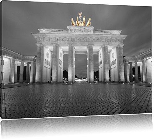 schönes Brandenburger Tor schwarz/weiß Format: 120x80 auf Leinwand, XXL riesige Bilder fertig gerahmt mit Keilrahmen, Kunstdruck auf Wandbild mit Rahmen, günstiger als Gemälde oder Ölbild, kein Poster oder Plakat