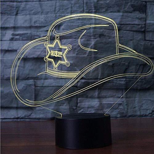 Dwthh Kreative 3D Bunte Led Gradienten Cowboy Hut Nachtlicht Kappe Usb Kinder Schlaf Schlafzimmer Nacht Dekor Dekor Leuchten Schreibtisch Tischleucht