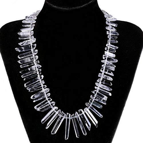 GEMS-WORLD BEADS GEMSTONE 1052 White clear quartz rock crystal raw hexagonal points sticks loose gemstone beads 16