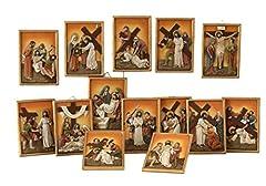 Idea Regalo - Paben Articoli Religiosi Quadri in Resina Set 14 Stazioni Via Crucis - Pasqua - Dimensioni cm. 16,5 x 11,5
