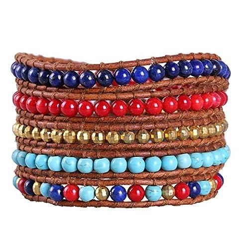 KELITCH Naturel Gemme Petit Perles Mode Multicouche Bracelets Fait Main Bangle Nouveau Femme Bijou (Rouge)