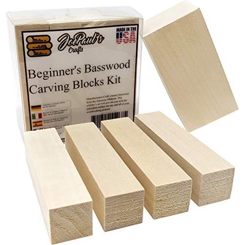 JoePaul's Crafts Basswood Talla Bloques Kit cortaplumas
