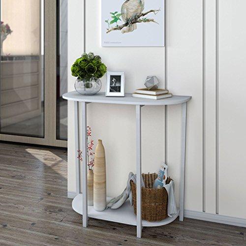 Lifewit Konsolentisch mit 2 Ablagen Modernes Telefontisch Eingangtisch Ablagetisch Beistelltisch Flurschrank,35*80*75cm,Weiß