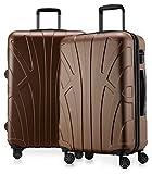 Suitline - 2er Koffer-Set Trolley-Set Rollkoffer Hartschalen-Koffer Reisekoffer, TSA, 66 cm, 100% ABS, Matt, Braun