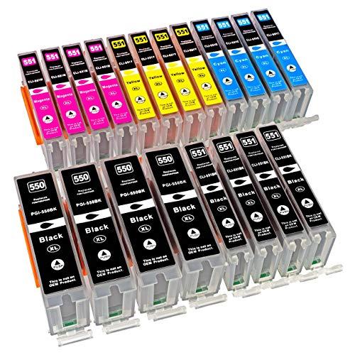 ESMOnline 20 komp. XL Druckerpatronen Canon MG 5450 5550 5650 5655 6350 6450 6650 7100 7150 7550 MX 725 925 iP 7200 7250 8750 iX 6850 - Drucker 13x19
