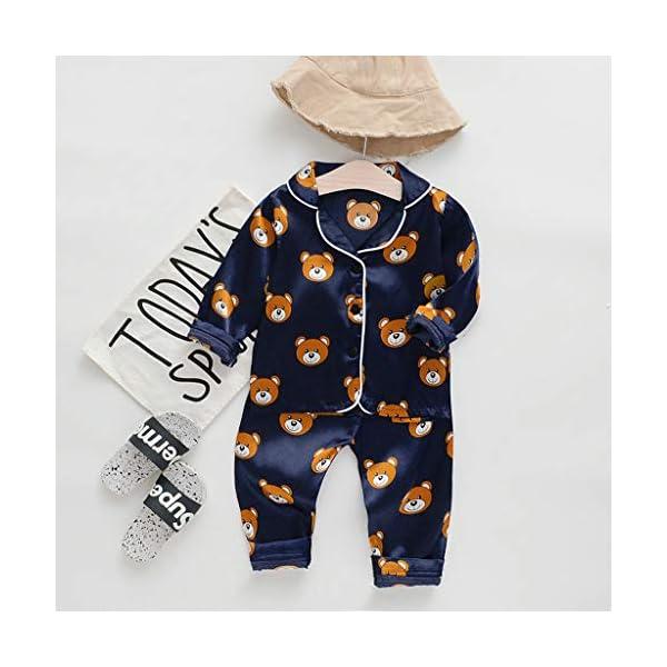Pijama de Manga Larga para niños y niñas, de Shenye de 0 a 5 años, con diseño de Oso de Dibujos Animados y Pantalones, Pijamas 2