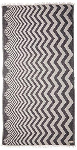 Bersuse 100% cotone - asciugamano turco coronado - certificato oeko-tex - peshtemal fouta per bagno e spiaggia - pestemal tessuto a mano con design zigzag - 100x180 cm, nero