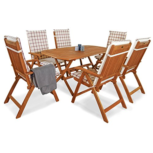 Indoba IND-70064-BASE7 Plus IND-70409-AUHL Serie Gartenmöbelset, Eukalyptus/Weinrot, 150x85x74 cm