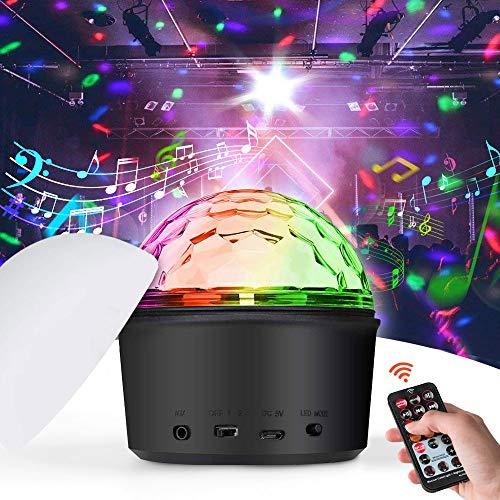 iKALULA Discokugel, Disco Lichteffekte LED Discokugel Party Licht Mini Discolicht Projektor Lampe mit Fernbedienung Bluetooth Sprecher MP3 Musik...