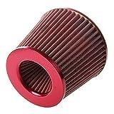 Filtro aria per auto, Filtro aria Motore Finitura rossa Maglia Sport Cono 76mm Filtro aria auto universale (rosso)