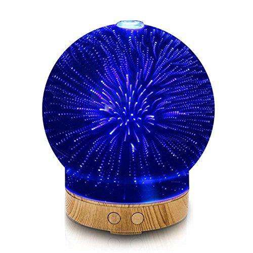 Diffuseur d'Huiles Essentielles 100ML Aroma Diffuseur de Parfum à Ultrasons Humidificateur d'air 3D Verre Aromatherapie Purificateur d'air 7 Couleurs LED Veilleuse Sans Eau Ciel d'étoiles