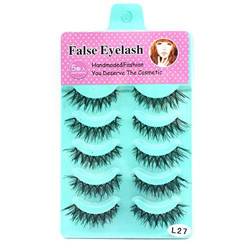 Pu Ran 5 paires Hand-made Cross False Eyelash Extensions douces et douces de maquillage des cils