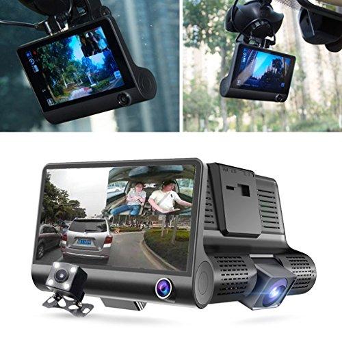 Chuhe - Dash Cam Kamera 4 Zoll 1080P DREI Objektiv Auto DVR Kamera Fahrzeug Camcorder 3 Objektiv