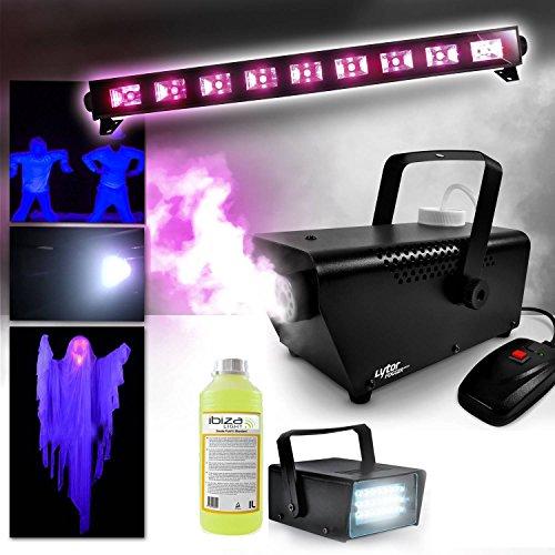 Nebelmaschine 400 W + Flüssigkeit inklusive + Neonröhre, Schwarzlicht Fluo Halloween + Mini- Stroboskoplicht LED
