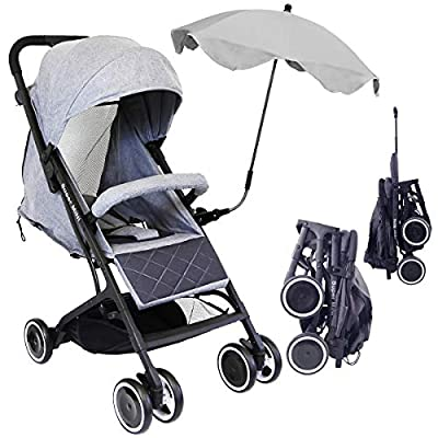iSafe Super Mini Stroller - Grey (Super Small & Lightweight with Raincover & Parasol)