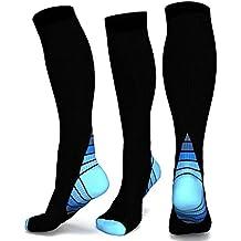 calcetines de compresión graduados graduados para hombres y mujeres - diseño PREMIUM ideal para uso diario, funcionamiento, embarazo, vuelo y viajes, enfermería. Aumenta la resistencia, la circulación y la recuperación (BLUE, S/M)