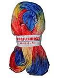 #8: CRAZE Acrylic Nylon Hand Knitting Yarn (Multi Red Blue) (Hanks-340gms)