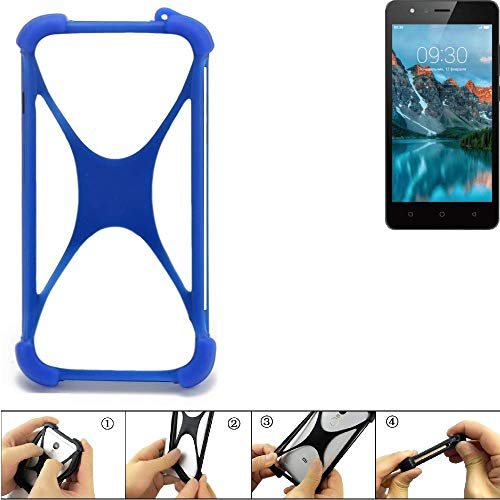 K-S-Trade Bumper für TP-LINK Neffos C5A Silikon Schutz Hülle Handyhülle Silikoncase Softcase Cover Case Stoßschutz, blau (1x)