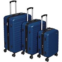 """AmazonBasics Hardside Trolley Luggage - 3 Piece Set (20"""", 24"""", 28""""), Navy"""