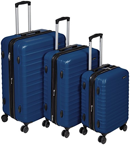 AmazonBasics Hartschalen-Trolley - 3-teiliges Set (56 cm, 69 cm, 79 cm), Marineblau